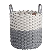 Large Cotton Rope Basket w/Handles - Decorative Circular Basket | Portable & Compact, Folds Flat | Neutral Tones for Home Decor | Versatile Storage Bin, Laundry Hamper, Kids Toy Bins, Shoes,Blankets
