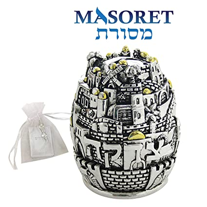 Amazon com: MASORET Set: Polyresin Tzedakah Box Sphere 15 cm