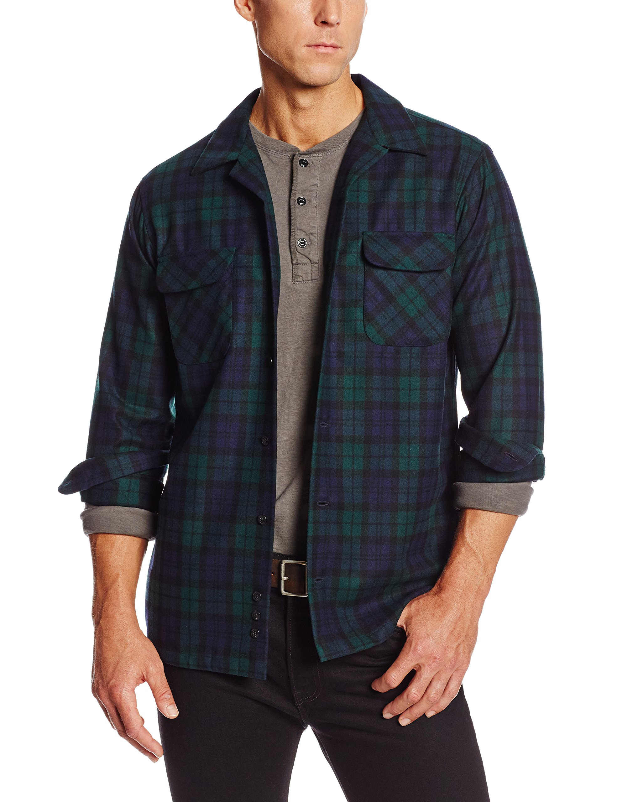 Pendleton Men's Big & Tall Long Sleeve Board Shirt, Black Watch Tartan-30069, XL-TALL