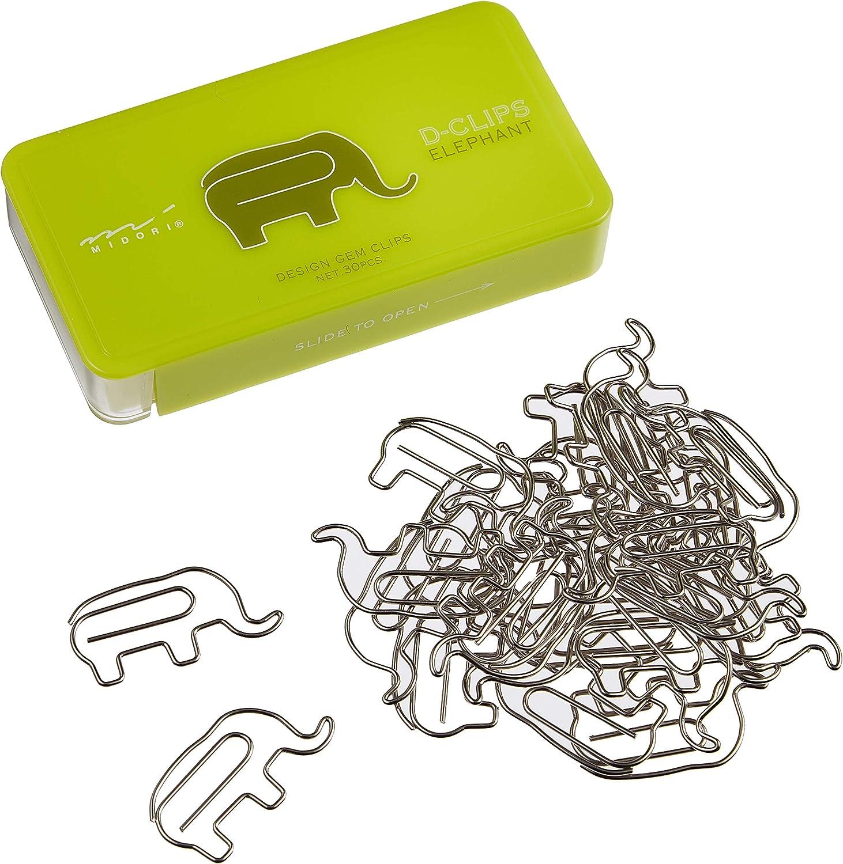 Executive box 30 Midori D-Clip Paper clips assorted animals metal cat squirrel