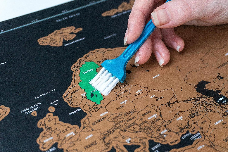 Zeigen Sie Ihre Abenteuer 4 Verschiedene Werkzeuge f/ür Sauberes und Genaues Freirubbeln Rubbel Weltkarte XXL Landkarte zum Freirubbeln Extravos Weltkarte zum Rubbeln inkl Lebende Erinnerung!