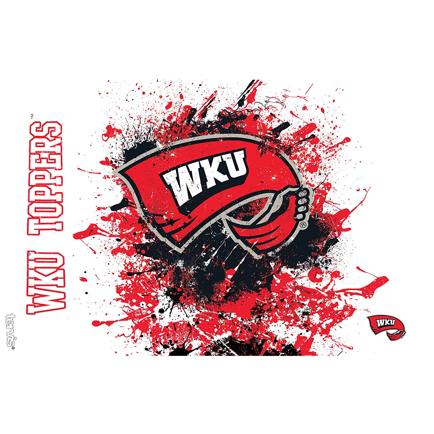 Clear Tervis 1165435 Western Kentucky Hilltoppers Splatter Tumbler with Wrap and Black Lid 16oz