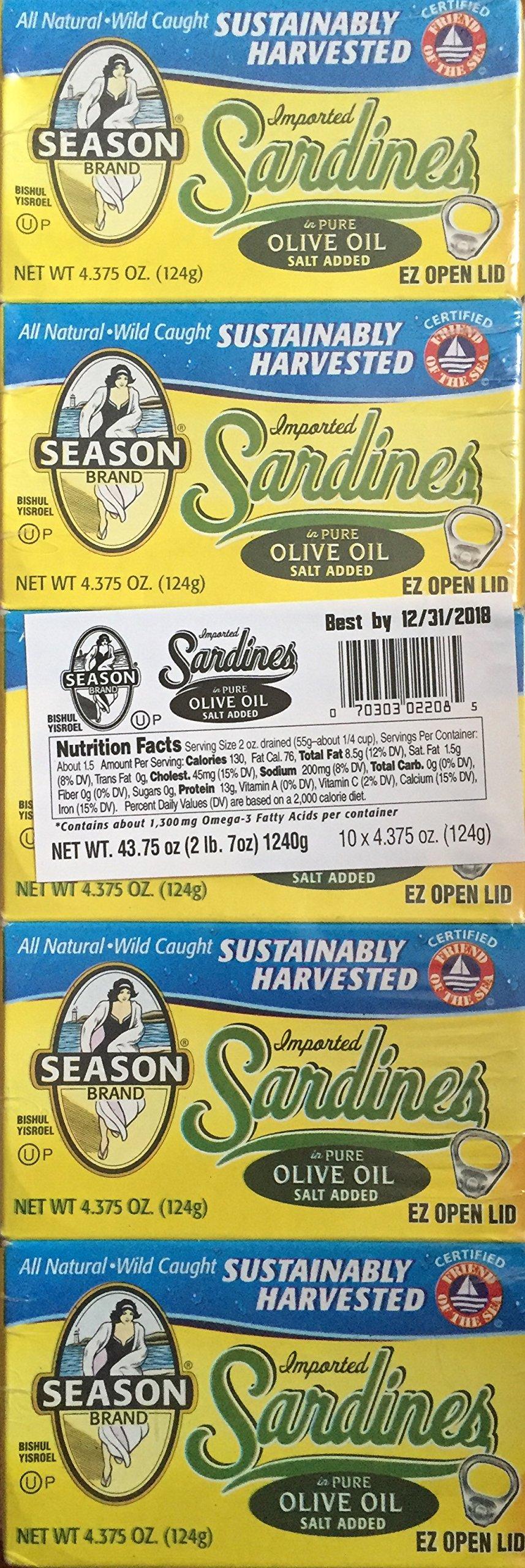 Season Sardines in Pure Olive Oil (Pack of 10) by Season 1