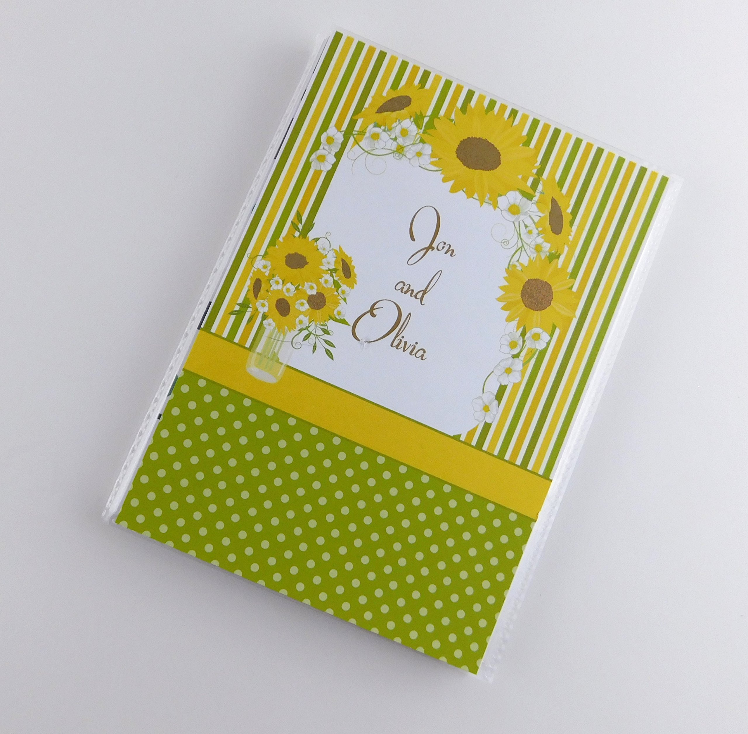 Family Photo Album IA#698 Sunflower Country Decor Mason Jar Personalized with Name Personalized Wedding Anniversary Engagement 4x6 or 5x7 Pictures Custom Bridal Gift