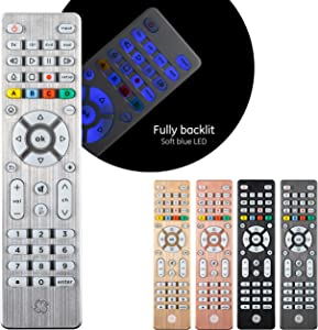 GE Backlit Universal Remote Control for Samsung, Vizio, LG, Sony, Sharp, Roku, Apple TV, RCA, Panasonic, Smart TV, Streaming Players, Blu-Ray, DVD, Simple Setup, 4-Device, Silver, 48844