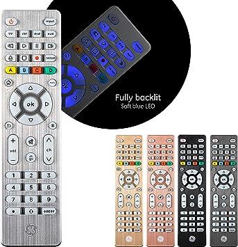 GE 48844 - Mando a distancia universal para Samsung, Vizio, LG, Sony, Sharp, Roku, Apple TV, RCA, Panasonic, Smart TV, reproductores de streaming, Blu-Ray, DVD, configuración simple, 4 dispositivos, color plateado: Amazon.es: