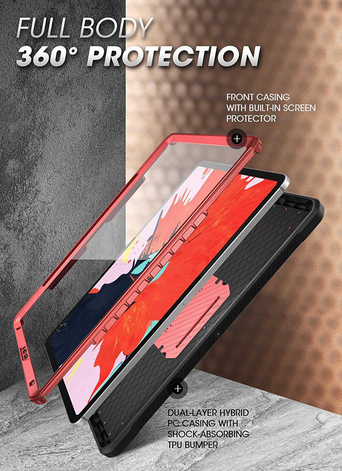 Tilt SUPCASE UB Pro Series Case for iPad Pro 12.9 2020 Support Apple Pencil Charging with Built-in Screen Protector Full-Body Rugged Kickstand Protective Case for iPad Pro 12.9 inch 2020 Release