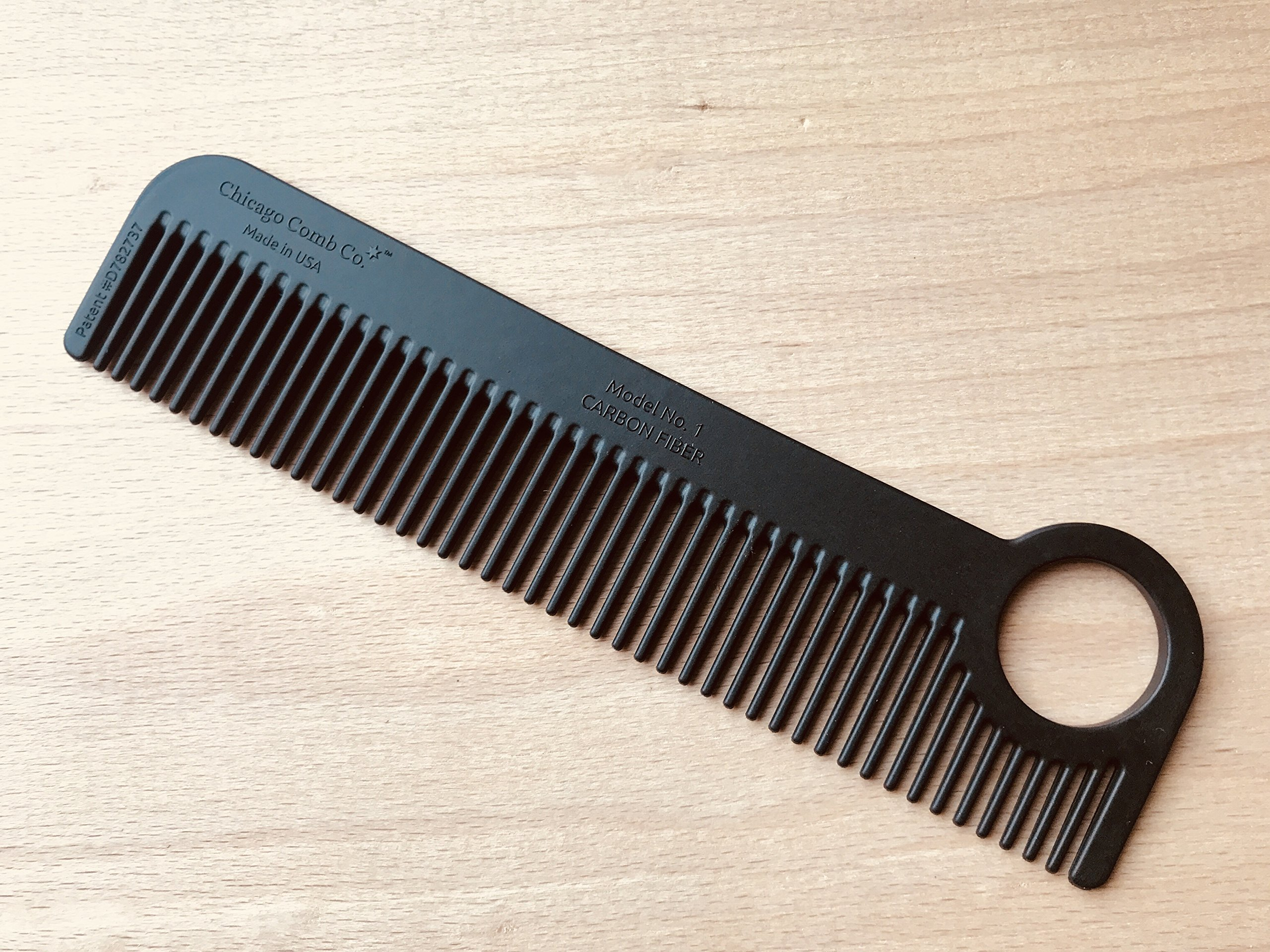 Chicago Comb Model 1 Carbon Fiber, Made in USA, ultra smooth, strong, and light, anti-static, heat-resistant, 5.5 inches (14 cm) long, ultimate daily use, pocket, and travel comb by Chicago Comb (Image #3)