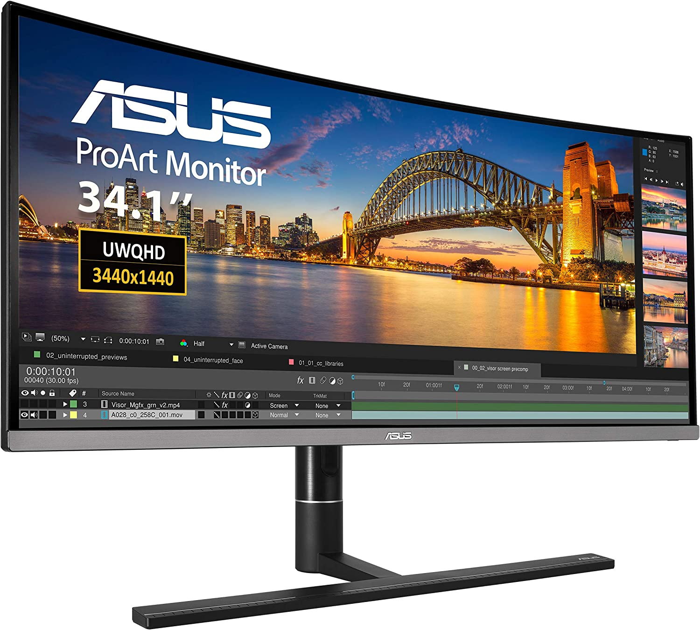 ASUS ProArt PA34VC - Monitor Profesional Curvo 34.1 Pulgadas (UWQHD, curvatura 1900R, HDR-10, 100% sRGB, precisión cromática dE < 2, calibración Hardware, Thunderbolt 3): Asustek: Amazon.es: Informática