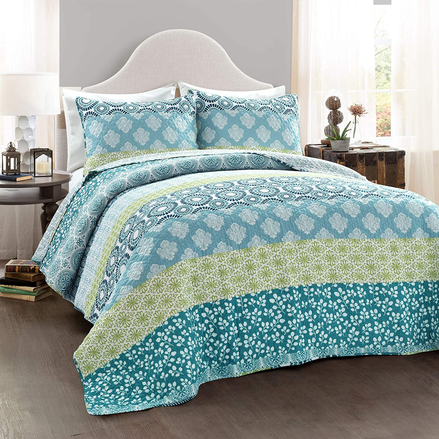Lush Decor Bohemian Striped Quilt Reversible 3 Piece Bedding Set, Full Queen, Blue and Green