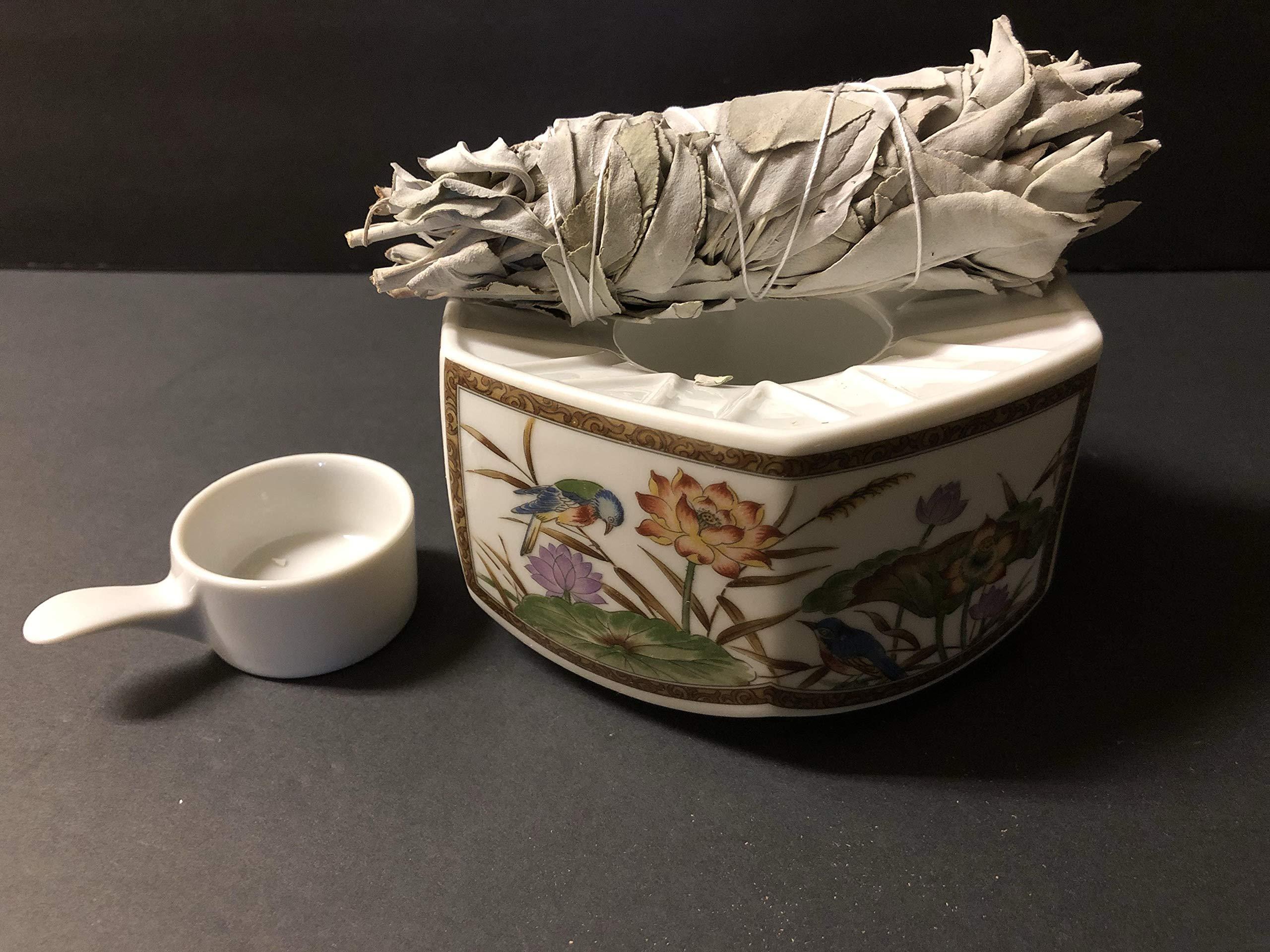 30 Pcs White Sage Bundle Smudge Incense 5''-6''+1 Incense Burner by Wincense (Image #2)