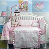 New Pink Minky Dot Chenille Baby Crib Nursery Bedding Set 13 pcs included Diaper Bag with Changing Pad & Bottle Case