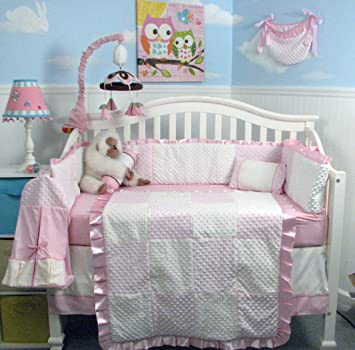 new pink minky dot chenille baby crib nursery bedding
