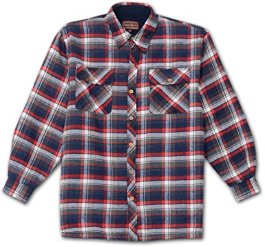 Amazon.com: Cotton Works Mens Lined Flannel Shirt Jacket (Navy 2X ...