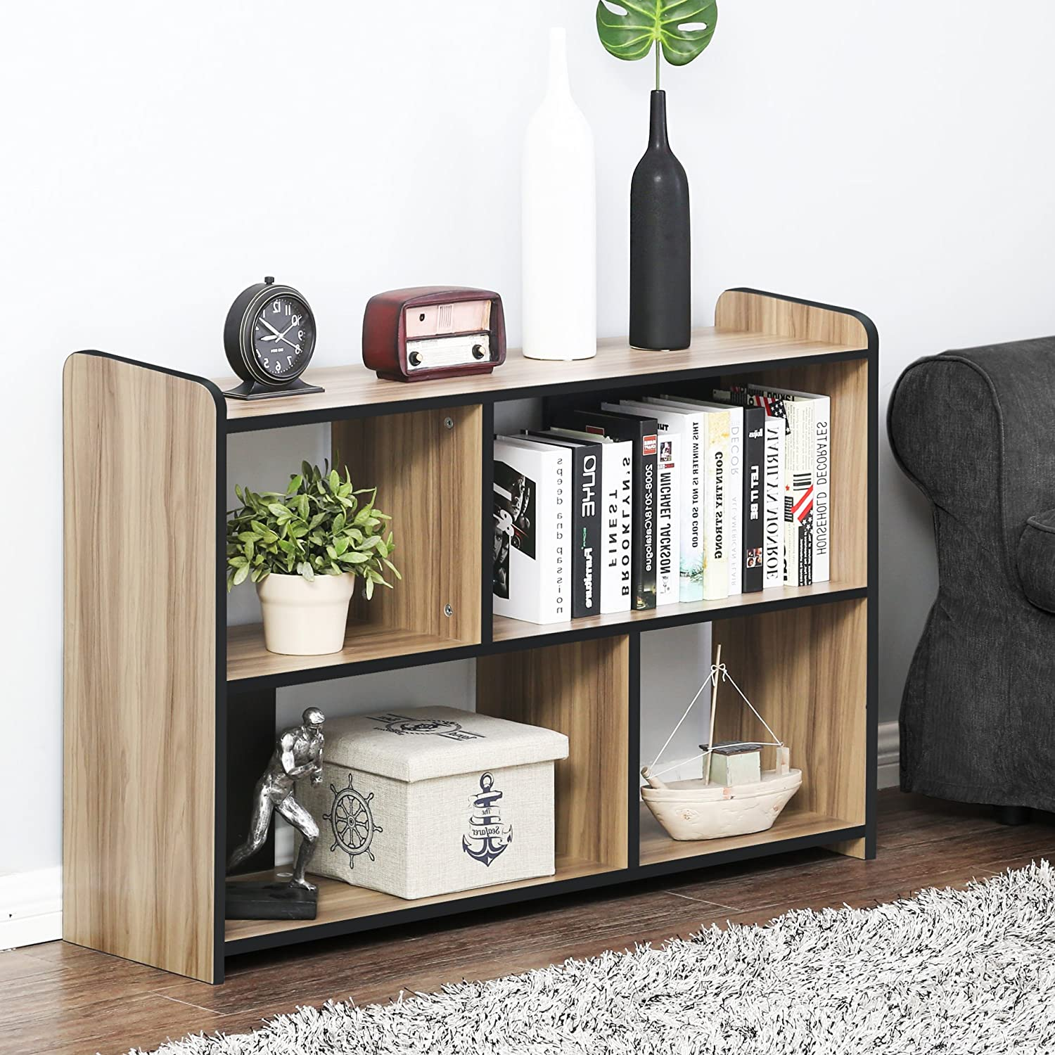 FITUEYES End Table with Storage Floor TV Media Stand Coffer Table Bookcase BCT310601WB