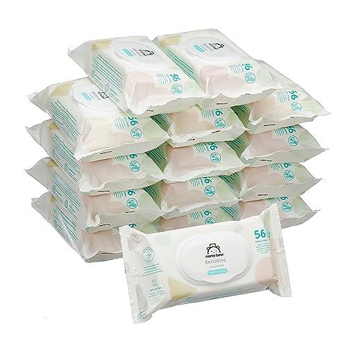 Marca Amazon Mama Bear Sensitive Toallitas húmedas para bebé 15 Paquetes 840 Toallitas