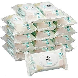 Amazon Marke -  Mama Bear Sensitive Baby-Feuchttücher - 15er Packung (840 Tücher)