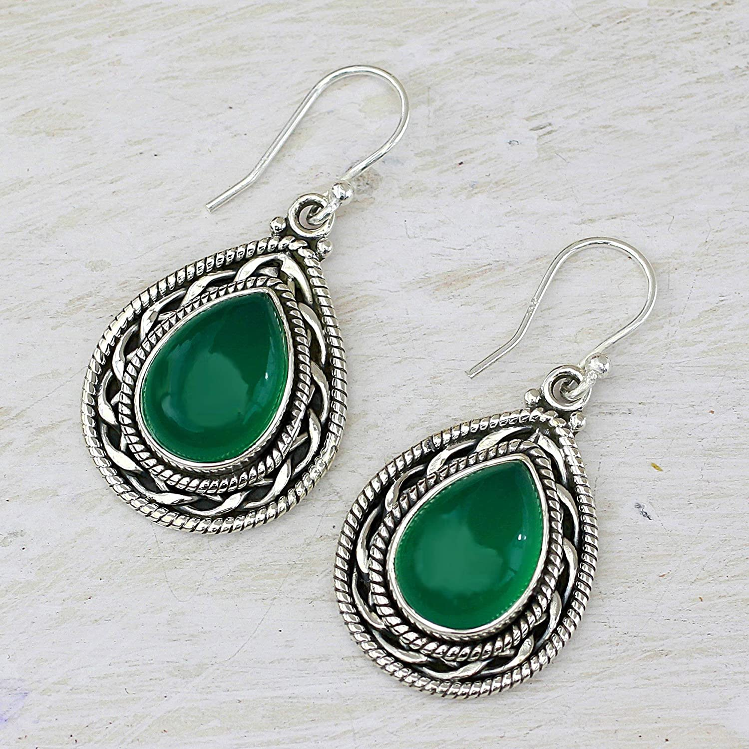 Novica Sterling silver dangle earrings, Green Palace Memories - Sterling Silver and Onyx Dangle Earrings