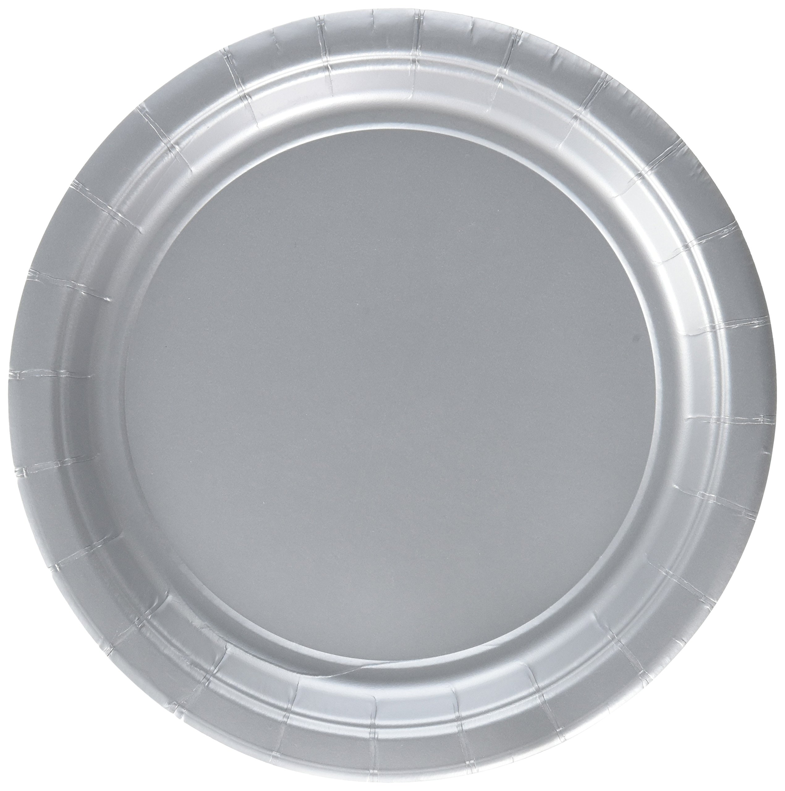 Amscan Durable Round Dessert Plates Big Bundle Party Tableware Paper, 7'', Pack of 50 Childrens, Silver, 7''