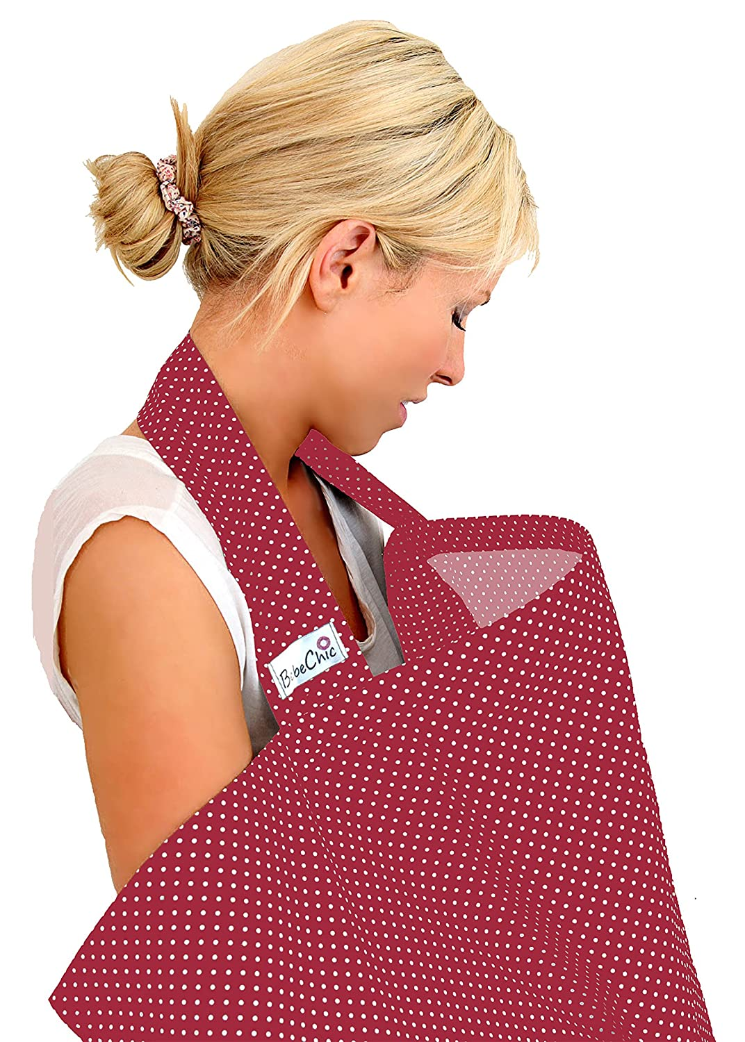 BebeChic.UK * Top Quality Oeko-Tex® Certified 100% Cotton * Breastfeeding Covers * Boned Nursing Tops - with Storage Bag - red wine / white dot BebeChic Limited redwine01