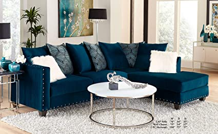 Amazon.com: Esofastore Living Room Modern Classic Blue Fabric ...