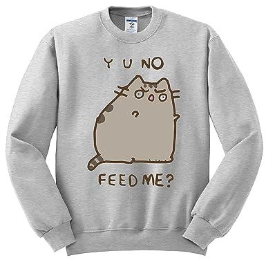 Facebook Pusheen Cat Y U No Feed Me Crewneck Sweatshirt Unisex X Large