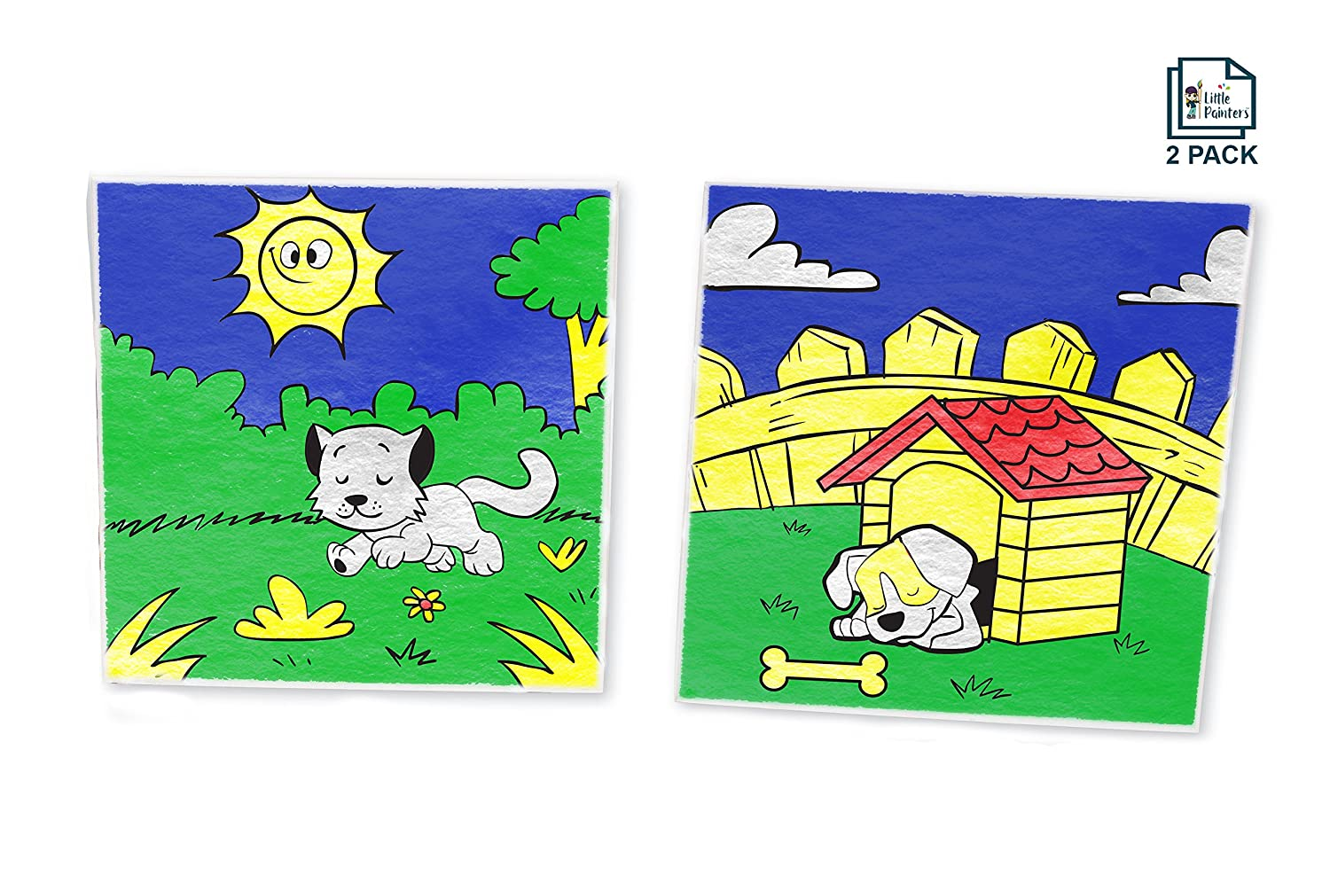 Amazon.com: Paint By Number Kit For Kids, Animal Pack - Dog And Cat ...