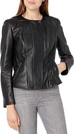 Cole Haan Women's Leather Feminine Racer Jacket
