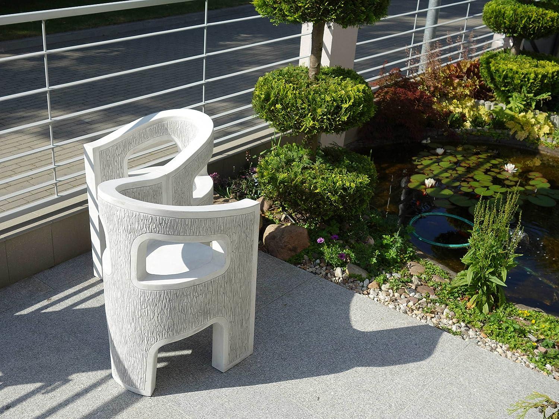Herrlicher Gartenstuhl Stuhl modern aus Steinguss, frostfest