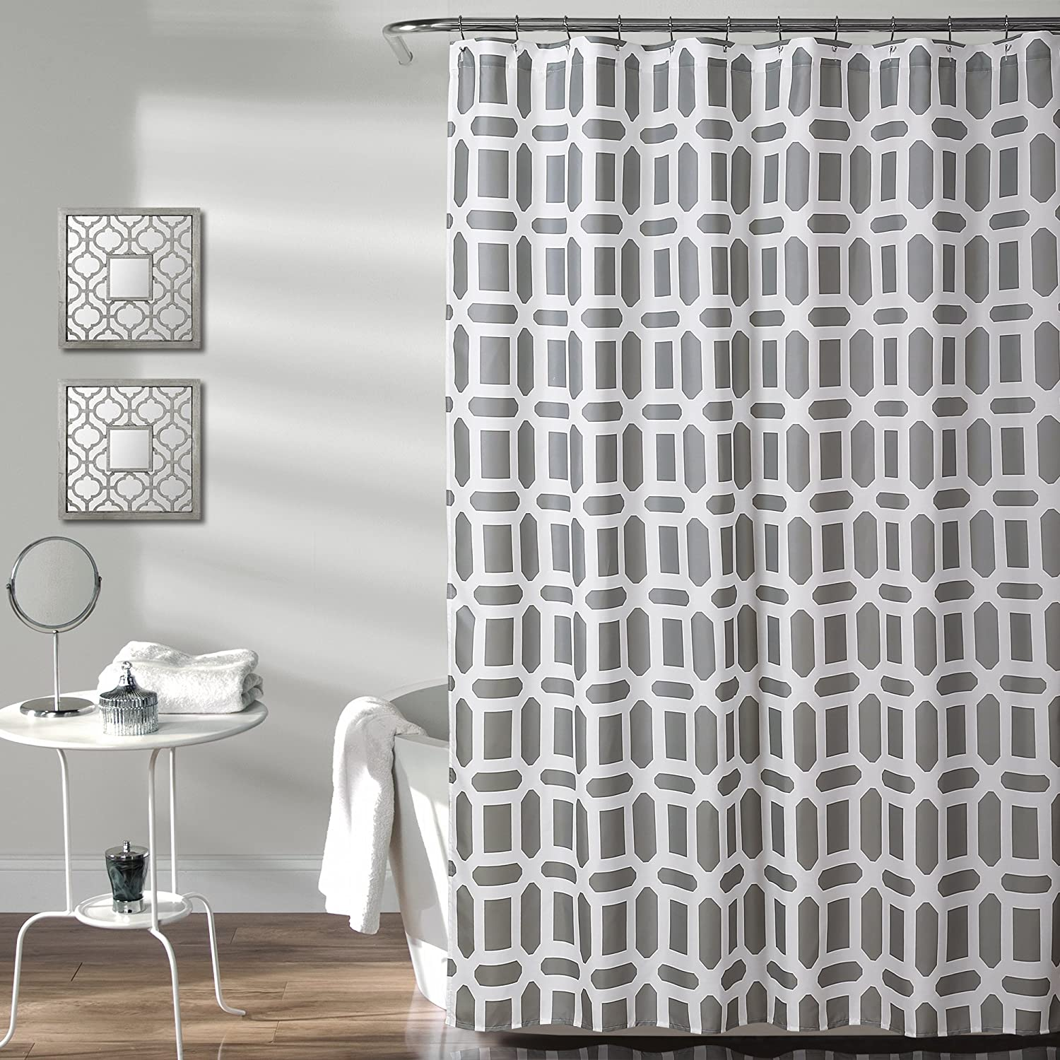 "Lush Decor, Gray Sequoia Geo Shower Curtain | Geometric Pattern Print Fabric Design for Bathroom, 72"" x 72"""