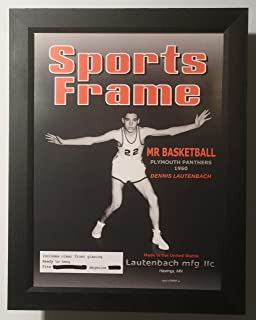 sports frame magazine display with illustrated label