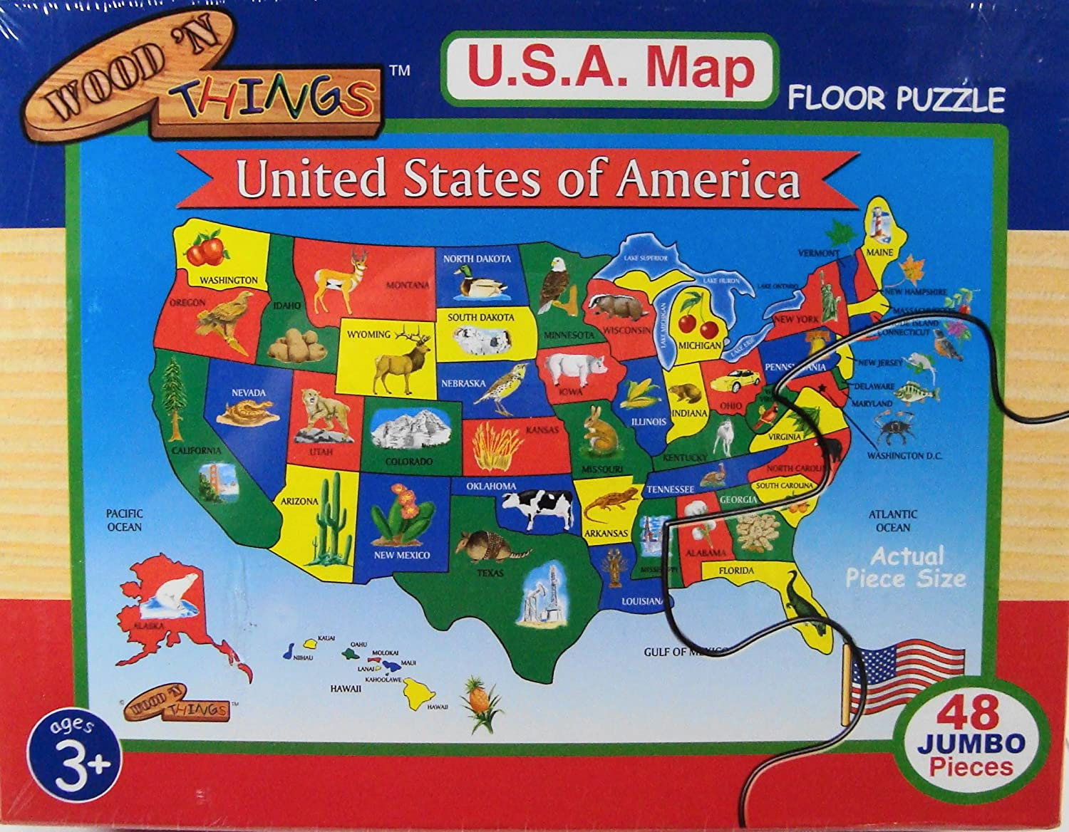 Amazoncom Wood N Things USA Map Floor Puzzle Toys  Games