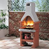 Corea Masonry Barbecue with Stainless Steel 3 Level Grill, Tapered Flue and Storage Shelf for Wood or Charcoal