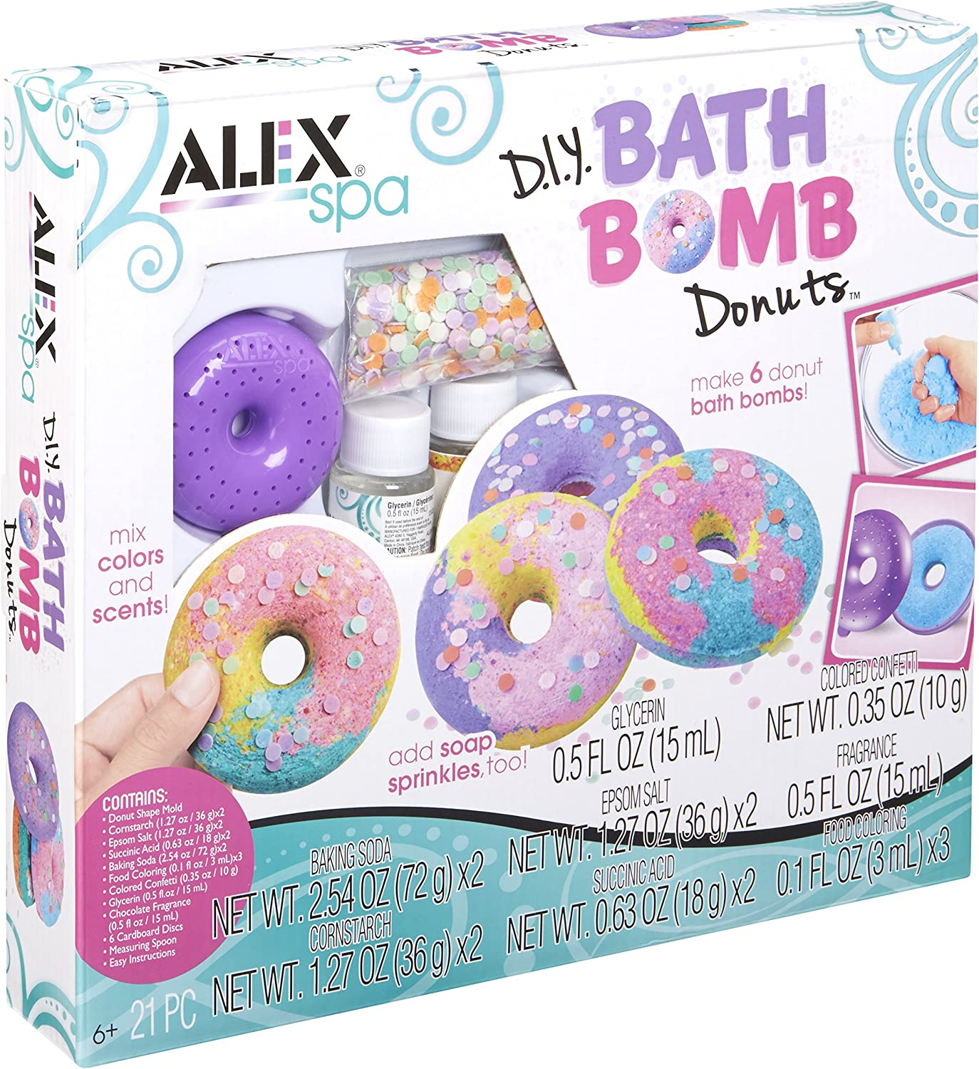 ALEX Spa DIY Bath Bomb Donuts Kids Bath Bomb Soap Kit