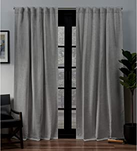 Exclusive Home Curtains Lancaster Basket weave Woven Blackout Hidden Tab Top Curtain Panel Pair, 52x96, Black Pearl