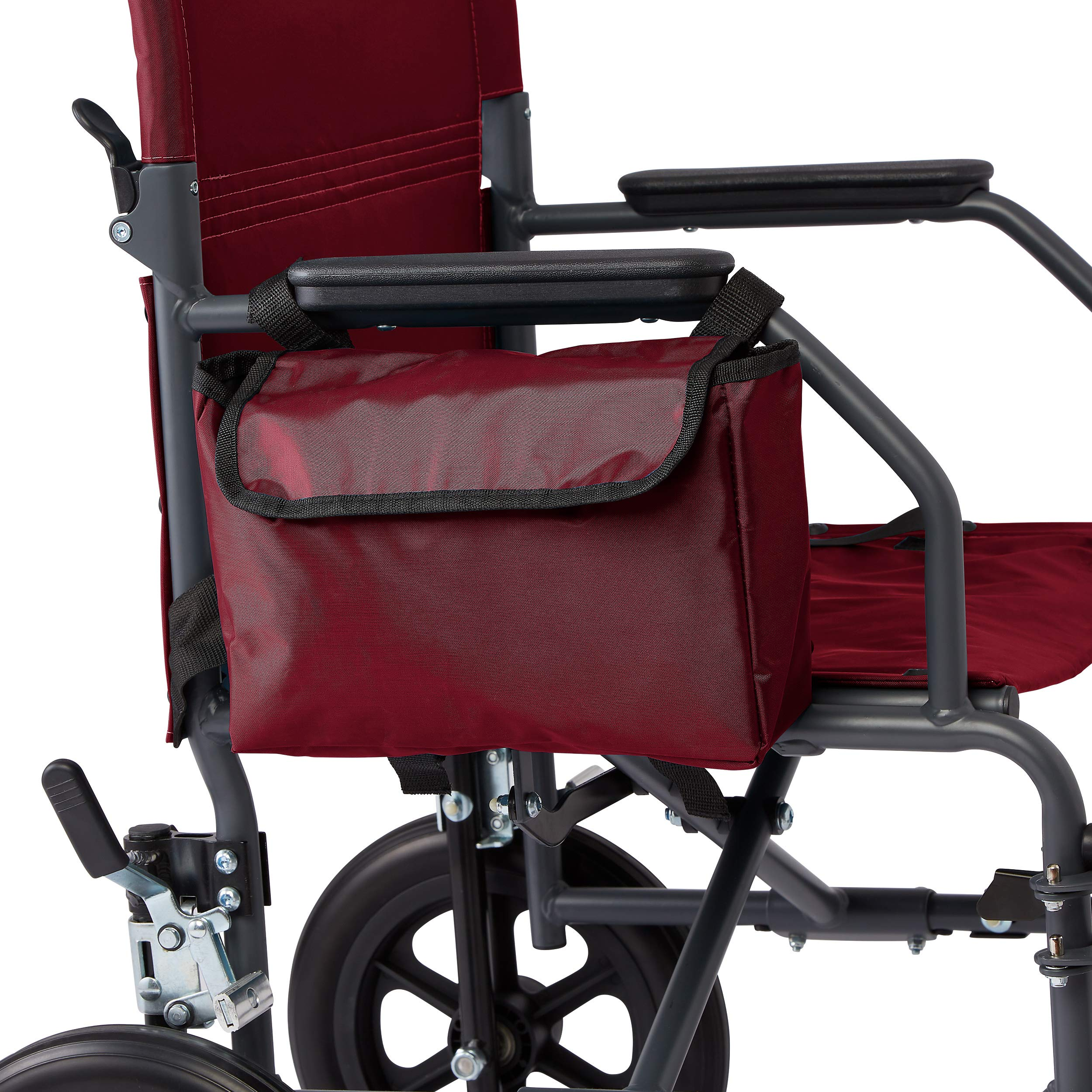 Medline Side Bag for Transport Chair, Waterproof Accessory Bag for Transport Wheelchair is Made of Durable Nylon Material, Red by Medline