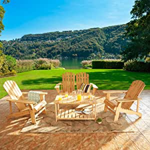 Festival Depot 4 Pieces Patio Conversation Set Outdoor Wood Adirondack Chairs, Loveseat and Coffee Table for Lawn, Deck, Beach, Backyard, Porch, Balcony, Wooden