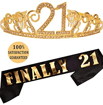 21st Birthday Tiara and Sash| Happy 21st Birthday Party Supplies| Finally  21 Glitter Satin Sash and