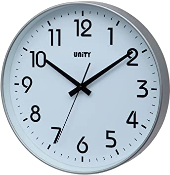 Unity Fradley - Reloj de Pared Silencioso, Moderno, 30 x 30 x 5 cm, Color Plateado: Amazon.es: Hogar