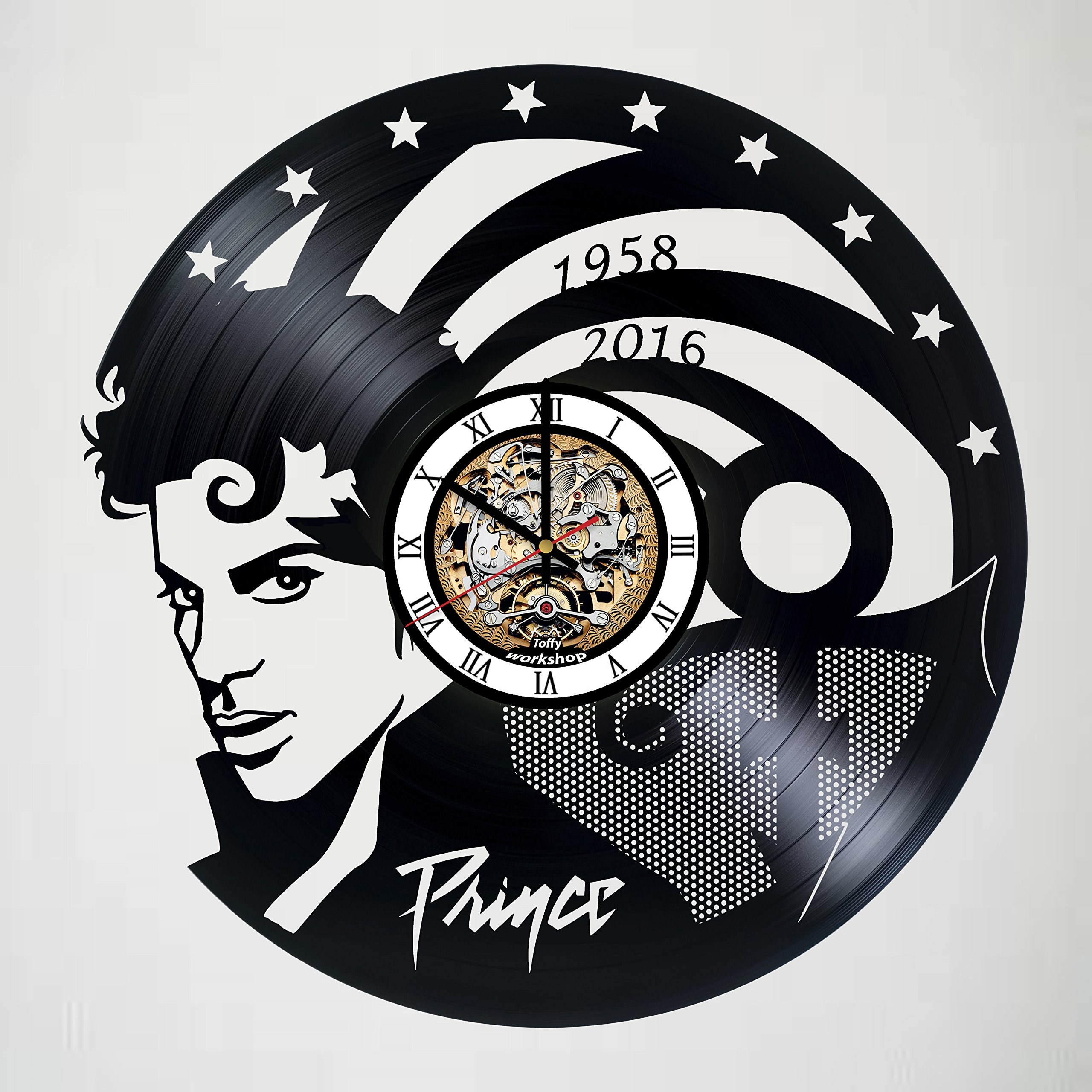 Toffy Workshop Prince - art vinyl wall clock - handmade -artwork - unique - home - bedroom - living - kids room -nursery - wall - decor - great gifts - idea for birthday, wedding, anniversary by Toffy Workshop (Image #1)