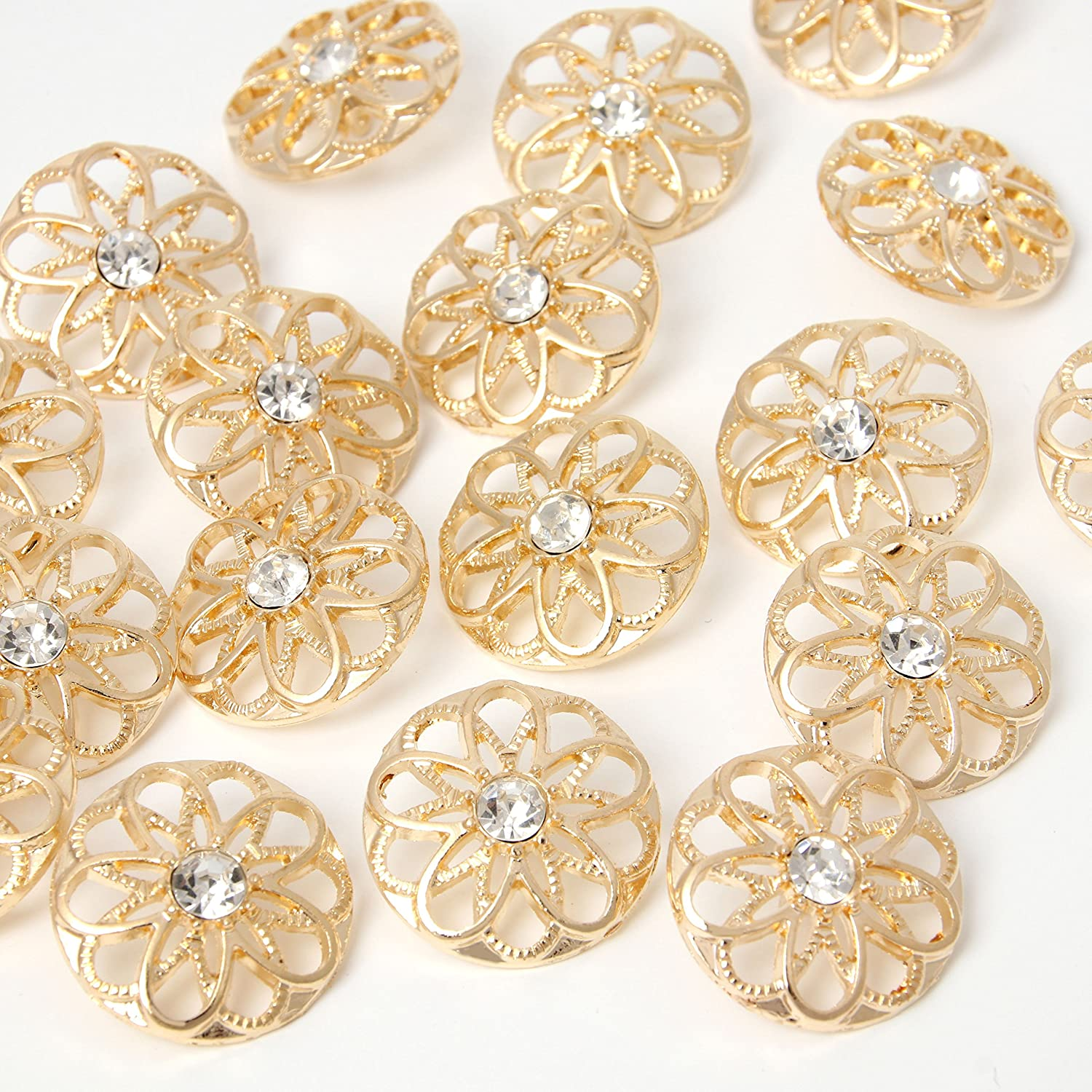 Gold Alloy Rhinestone Crystal Hollow Decorative Metal Cloth Buttons 25mm Style5 DIY Buttons Craft Supplies YAKA 24pcs Craft Buttons for Sewing Clothing