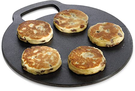 Kitchencraft Round Nonstick Baking Stonecooking Griddle For Welsh Cakes Scones Pancakes Bread And Pizza Recipes Included Gift Boxed Cast Iron