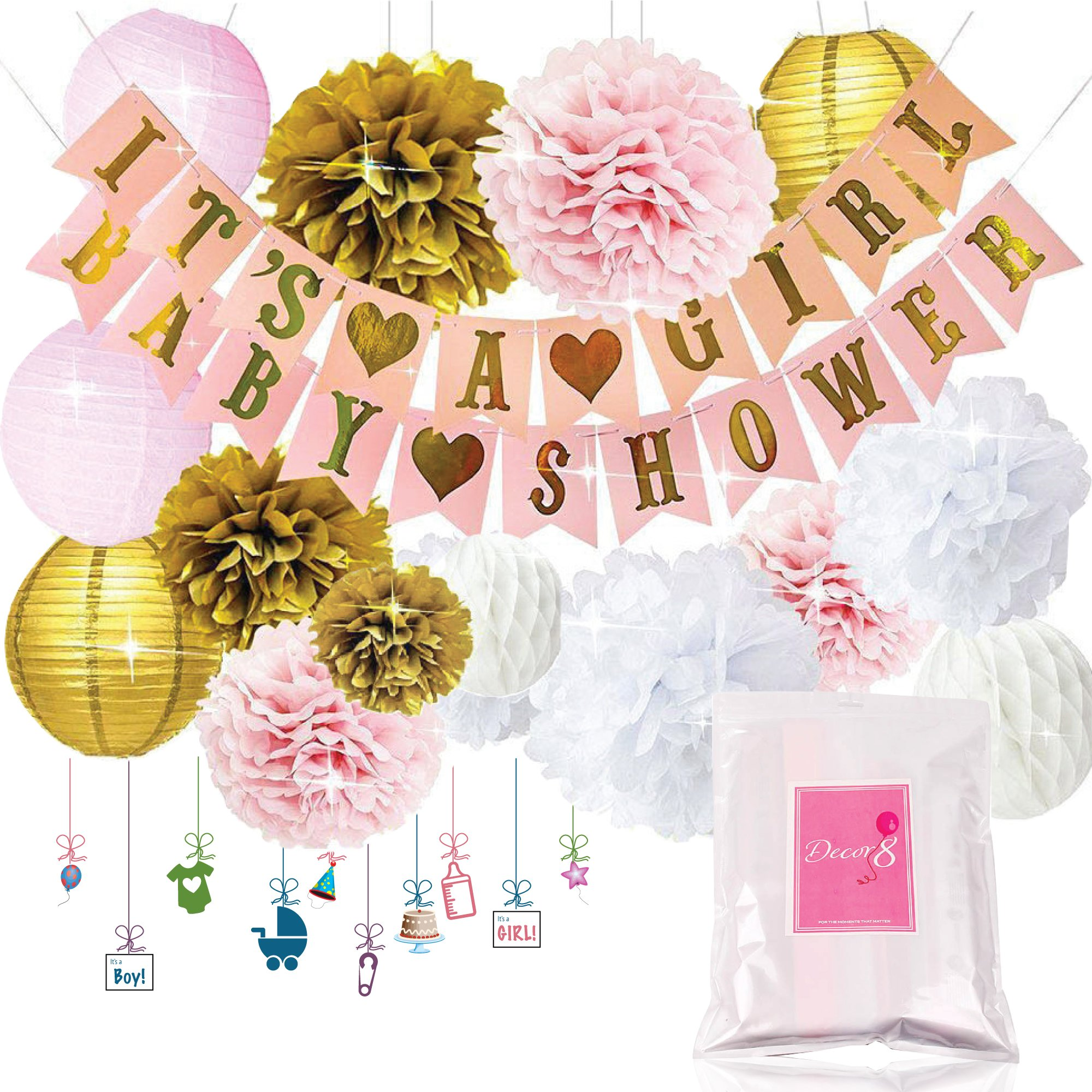 Baby Shower Decorations IT'S A GIRL & BABY SHOWER Banners, Lanterns, Pom Poms, and Honeycomb Balls. FREE Printable Decoration eBook. Pink Rose Cream Gold & White Nursery Room Decor for Babies - Decor8