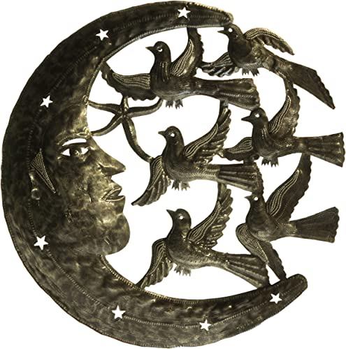 Le Primitif Galleries Haitian Recycled Steel Oil Drum Outdoor Decor, 23 by 23-Inch, Moon and Birds