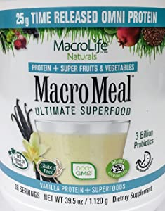 MacroLife Naturals MacroMeal Omni Superfood Powder Time-Released Protein Blend, Greens, Digestive Enzymes, Fiber, MCTs - Energy - Non-GMO, Gluten-Free, rSBT-Free - Vanilla - 39.5oz (28 Servings)