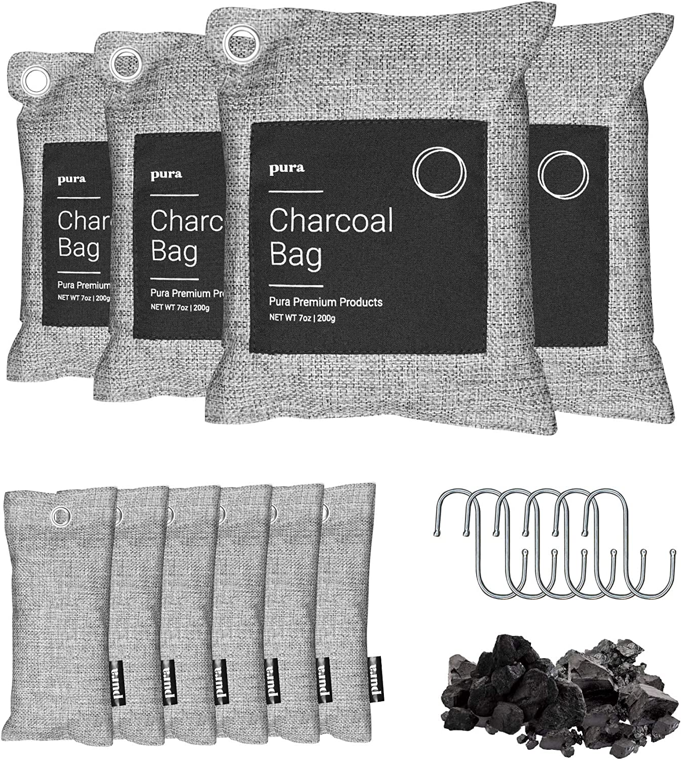 Pura Premium Activated Charcoal Bags Odor Absorber(16 Piece Set: 4x200g, 6x75g & 6 hooks), Powerful Bamboo Charcoal Air Purifying Bag - Shoe Deodorizer, Car Deodorizer, Charcoal Odor Absorber for Pets