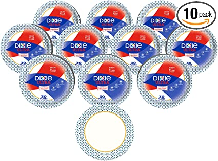 "Dixie Ultra 8 1/2"" Paper Plates, Lunch or Light Dinner Size Printed Disposable Plates, 30 Count, Pack of 10"