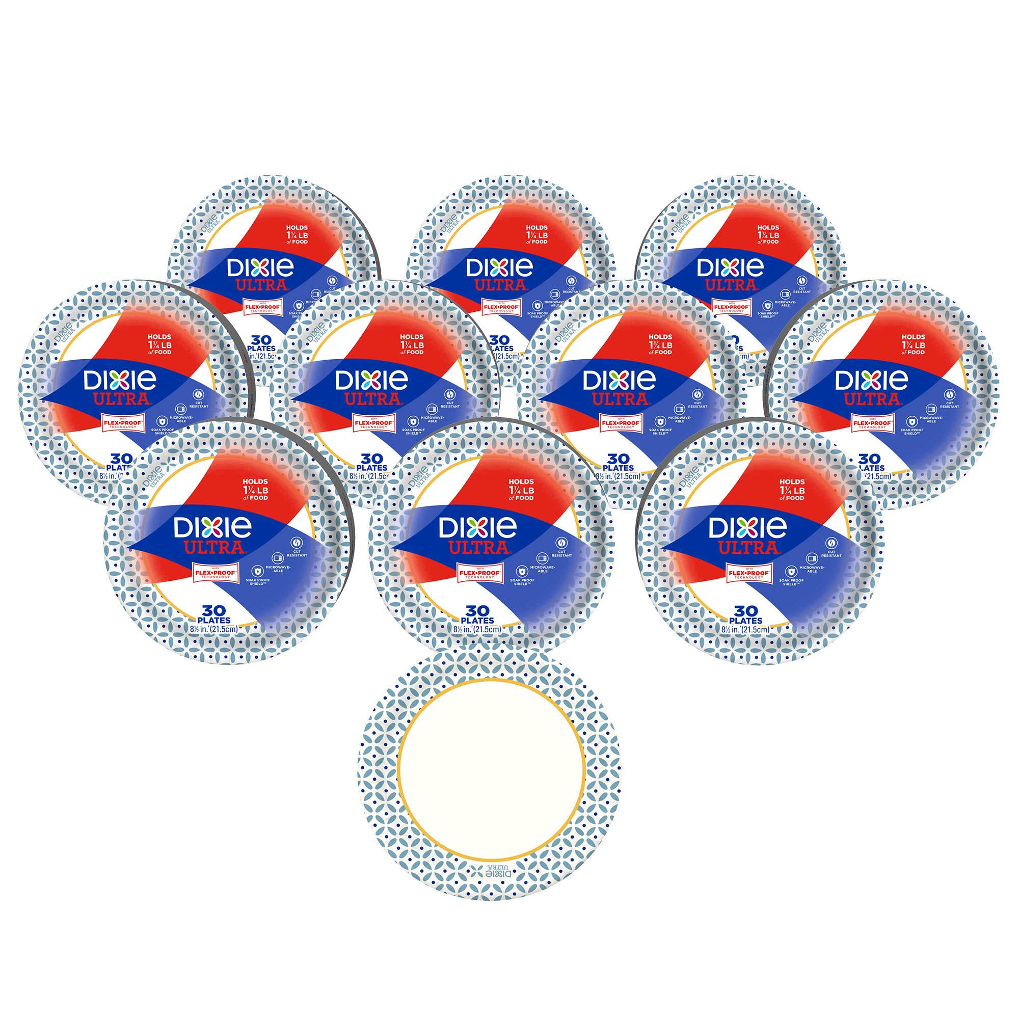 Dixie Ultra Paper Plates, 8 1/2'', 300 Count, 10 Packs of 30 Plates, Lunch or Light Dinner Size Printed Disposable Plates
