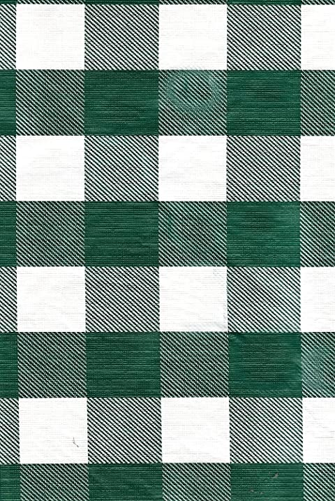 Green White Check Vinyl Tablecloth With Umbrella Hole And Zipper   70 Round  By CHF