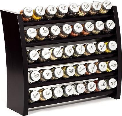 Wooden Kitchen Spice Rack For Spices And Herbs 40 Jars By Gald 40 X 8 X 5 Venge Schwarz Matt Amazon Co Uk Kitchen Home